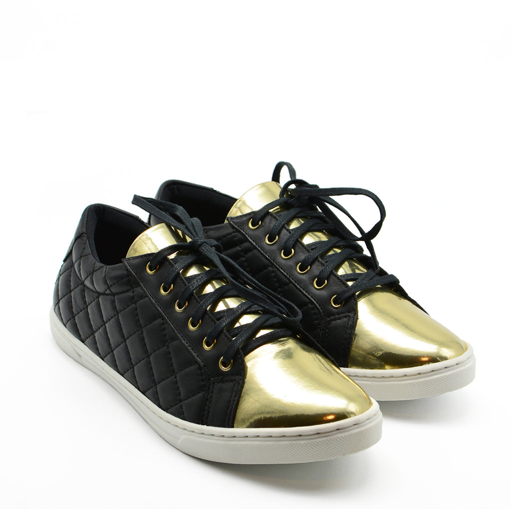 Alana Runner Sneaker in Black & Gold