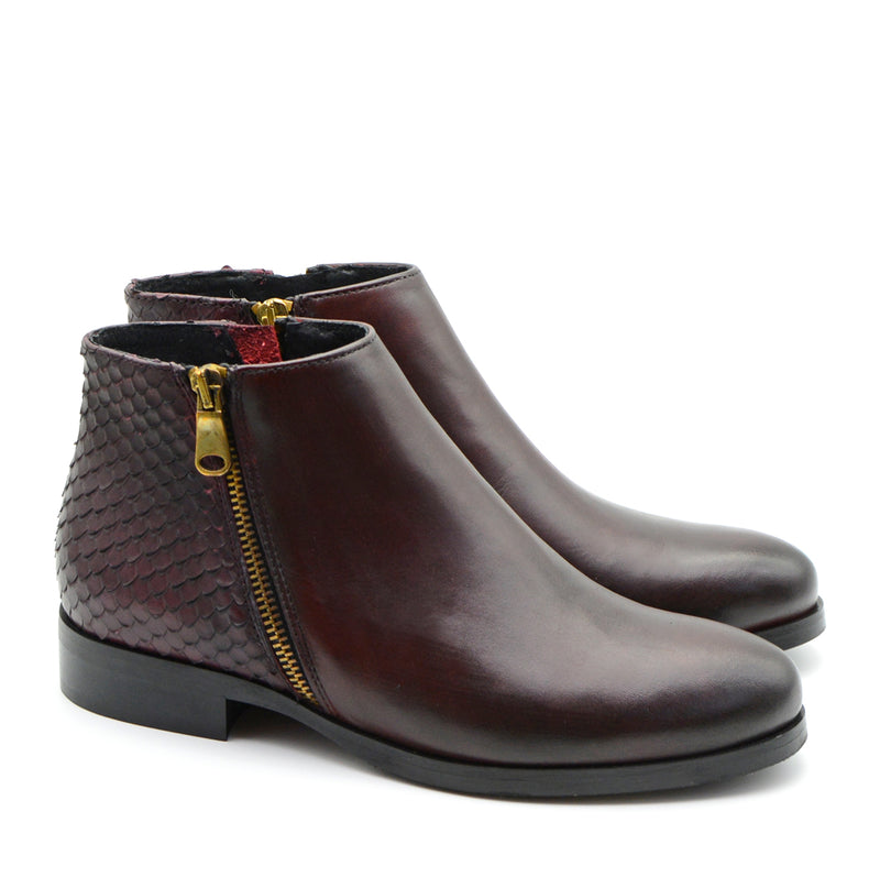 Ally Wine Leather Ankle Boots