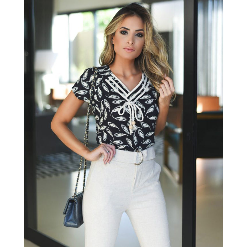 Emma Drawstring Floral Black & White Top