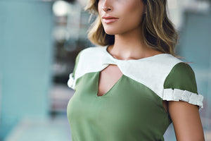 Kathryn Twisted-Front Top in Green & Beige