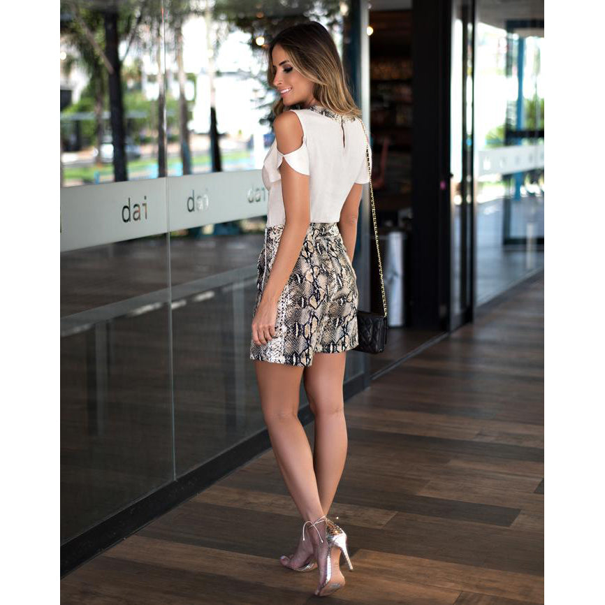 Bex High Waist Skirt Shorts in Snake Print