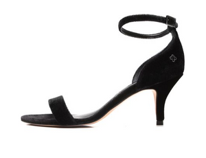 Renata Ankle Strap Heeled Sandals in Black Suede
