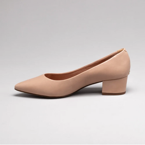 Lucia Low Block Heeled Shoes in Nude