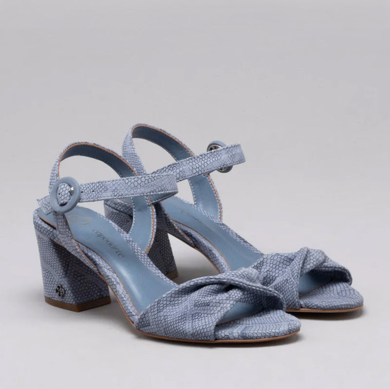 Martina Block Heeled Ladies Sandals in Blue - Leather Heal Detailing