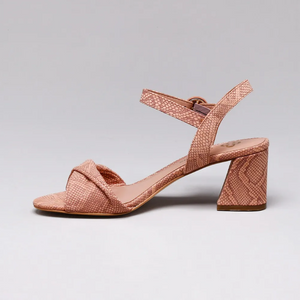 Martina Block Heeled Ladies Sandals in Blush - Leather Heal Detailing