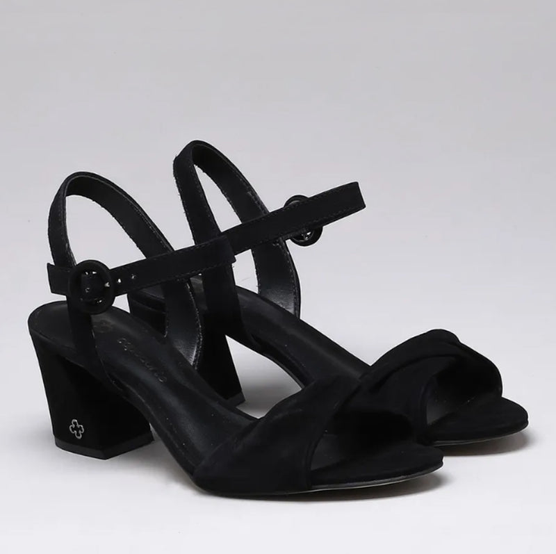Martina Block Heeled Ladies Sandals in Black - Leather Heal