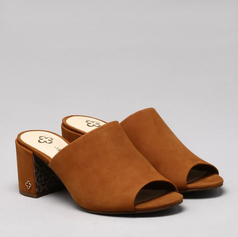 Luciana Heeled Mules in Tan Suede