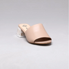 Valeria Acrylic Block Heel Mule in Nude Calf Leather