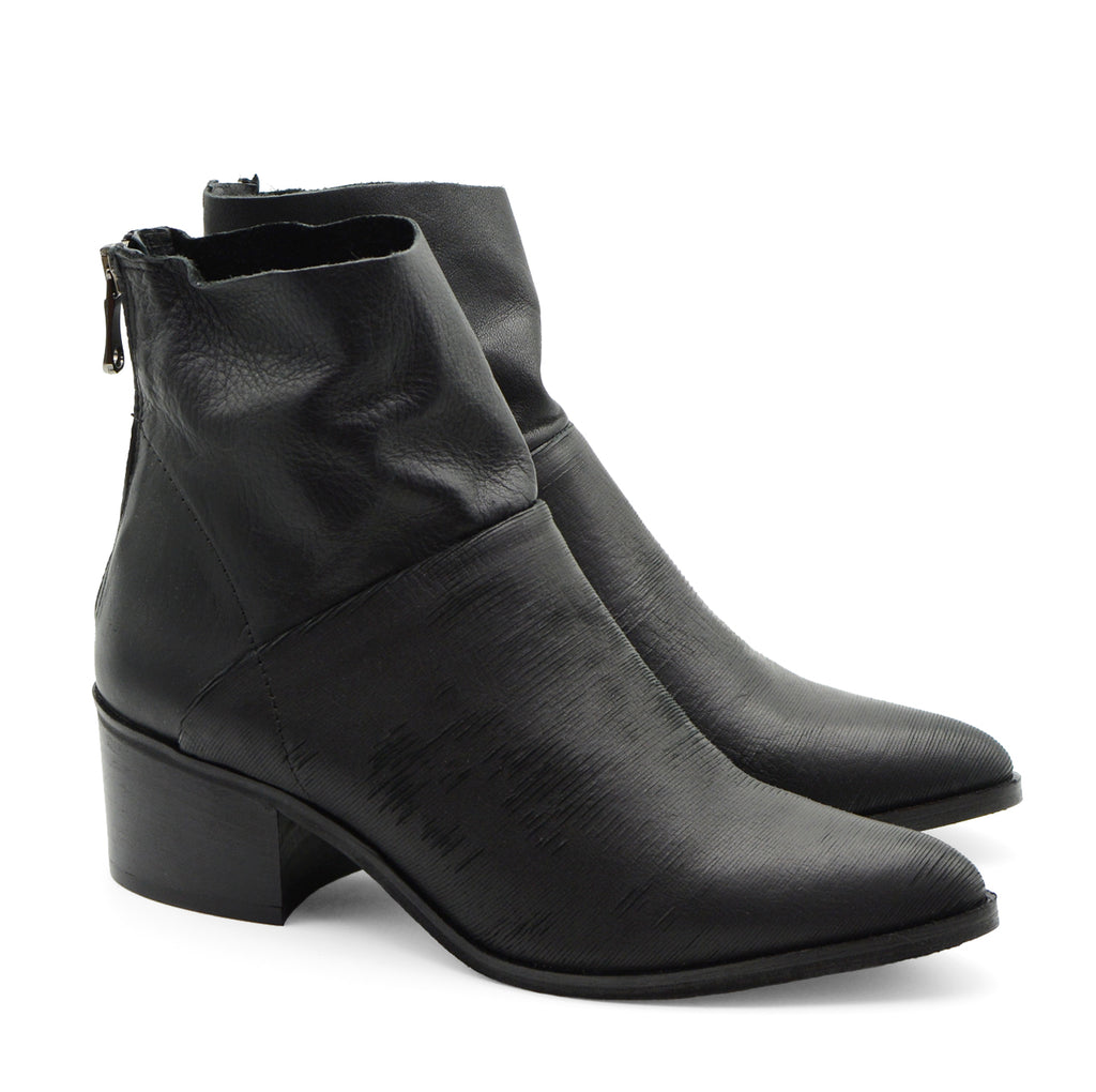 Carol Black Pointed Toe Ankle Boots