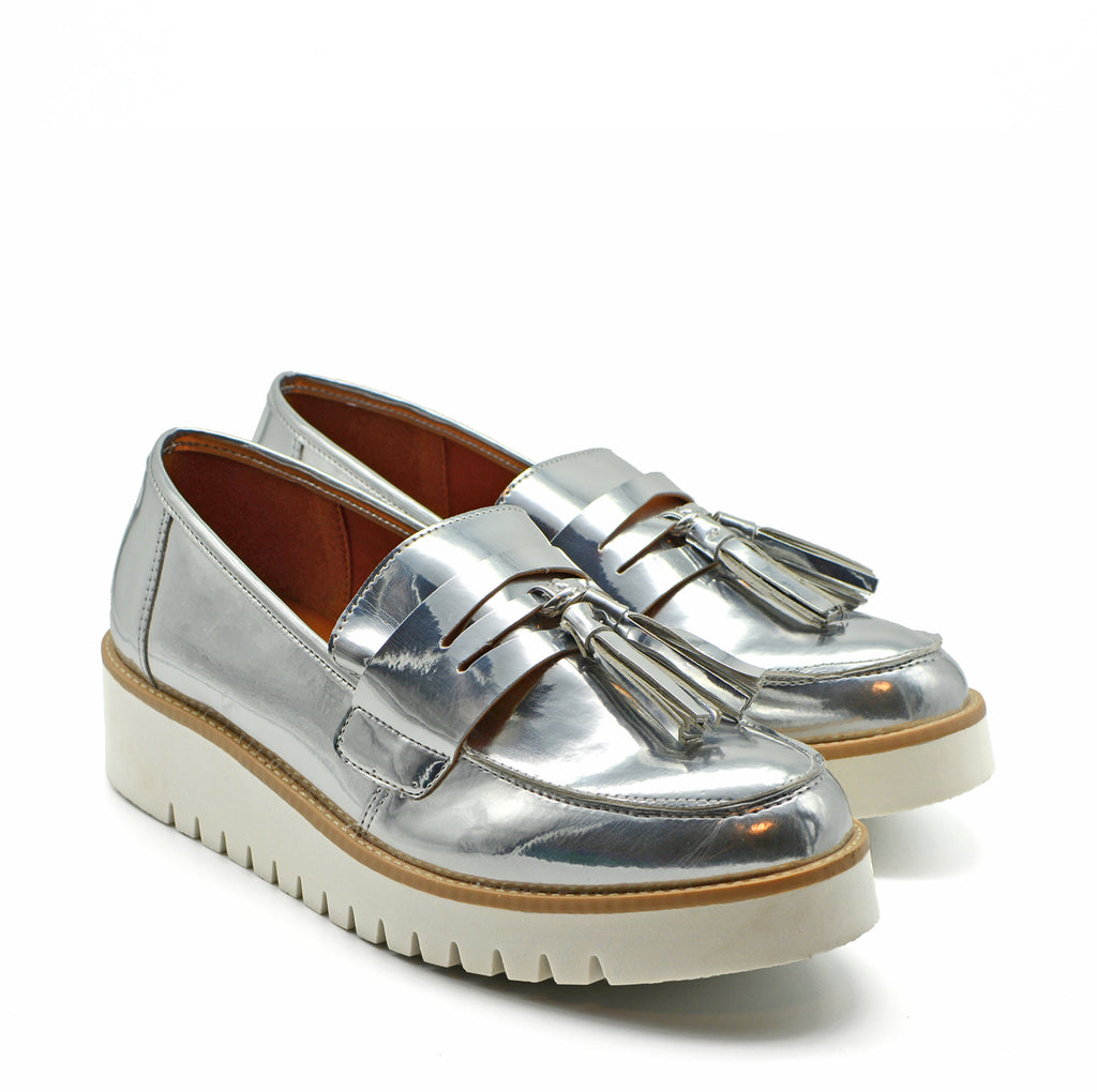 Dani Victoria Loafer Slip On Sneakers in Metallic Mirror Silver