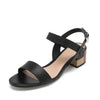 Lia Block Heeled Sandals in Black Leather