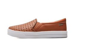 Emily Slip On Sneakers in Tan Perforated