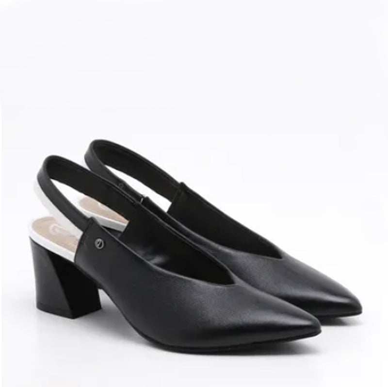 Zoe Black & White Leather Slingback Block Heel