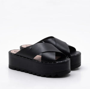 Andrea Chunky Platform Heeled Mules in Leather Leather