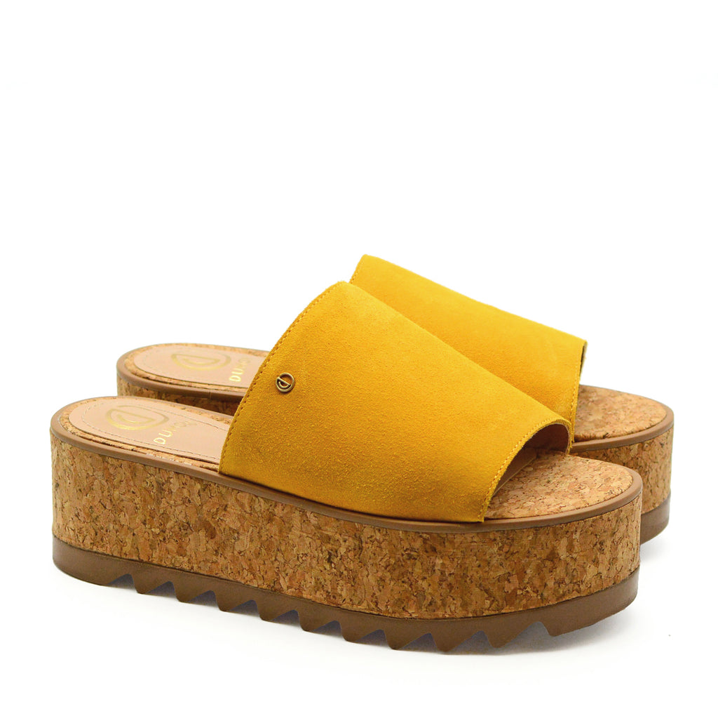 Alexa Chunky Platform Heeled Mules in Mustard Suede Leather