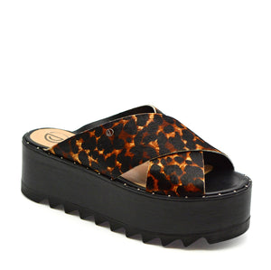 Andrea Chunky Platform Heeled Mules in Leopard Leather