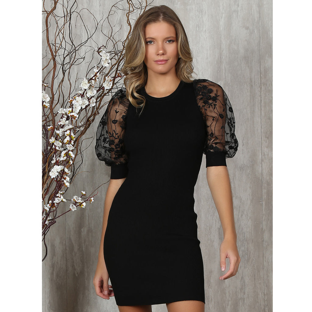 Isa Black Dress with Mash Puff Sleeves