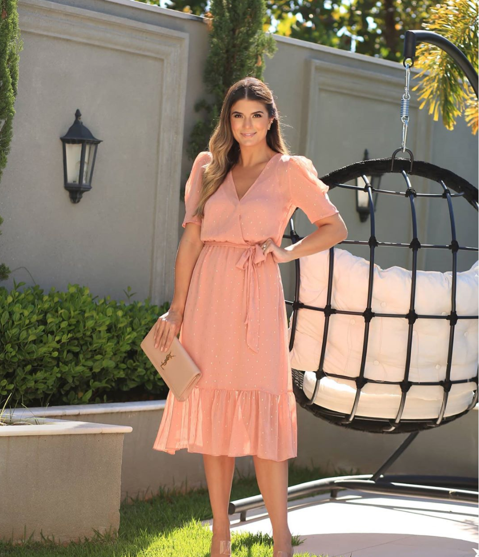 Julie Wrap Blush Maxi Dress With Gold Dots