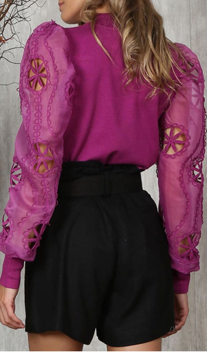 Alice Magenta Mesh Puff Sleeves  Top
