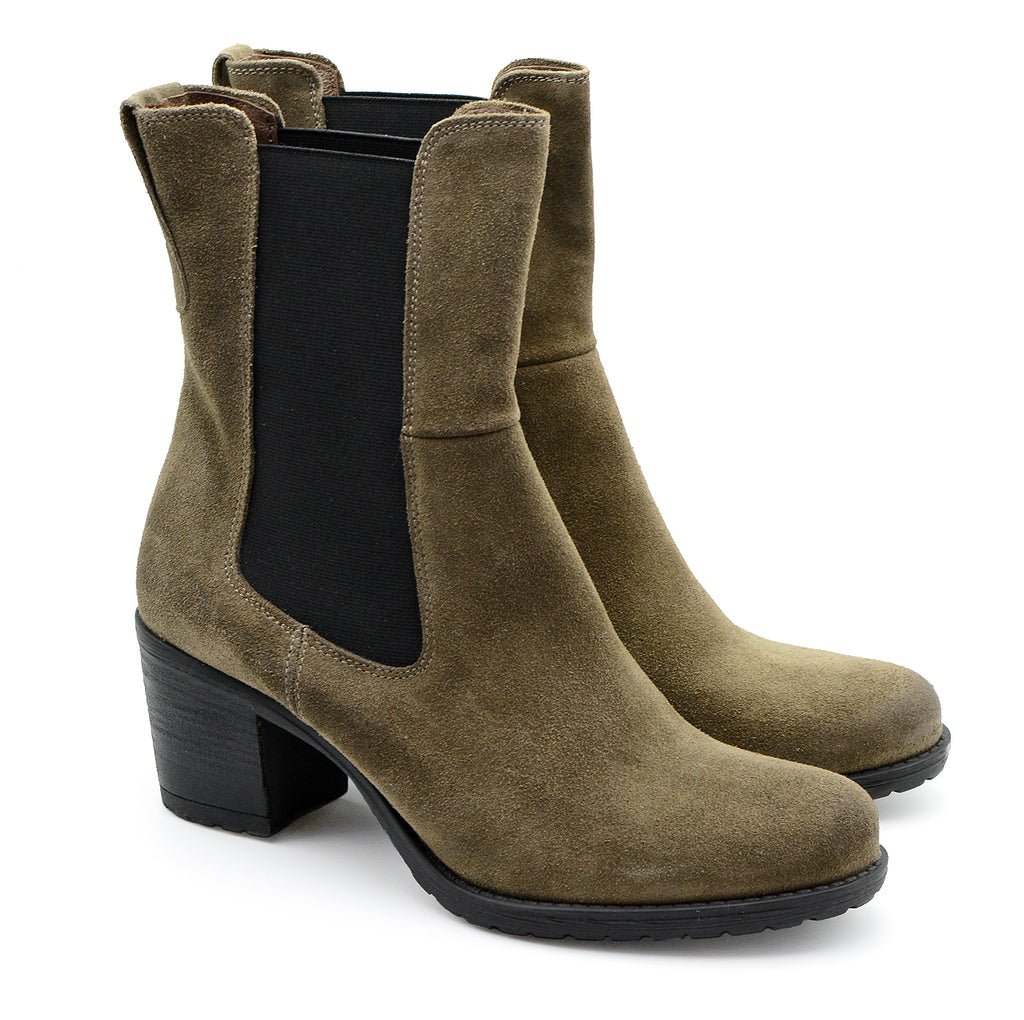Tuani Green Suede Mid-Calf Boots