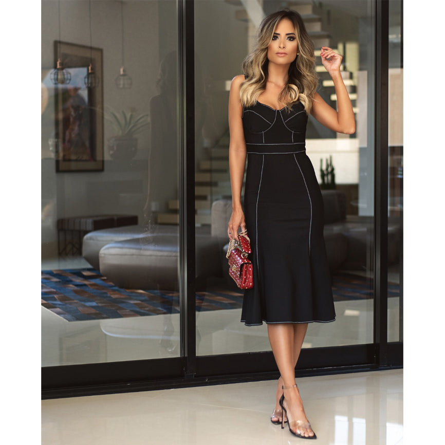 Harper Stunning Midi Dress in Black