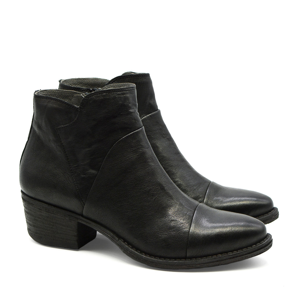 Lulu Round Toe Ankle Boot in Black Leather
