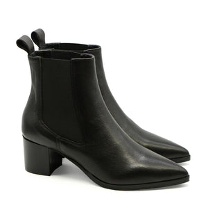 Zulu Ankle Pointed Toe Black Leather Boots