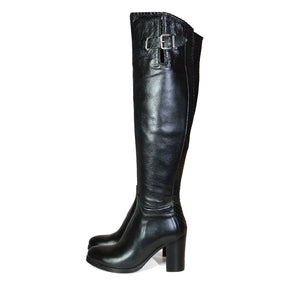 Clarissa Over Knee Black Leather Boots
