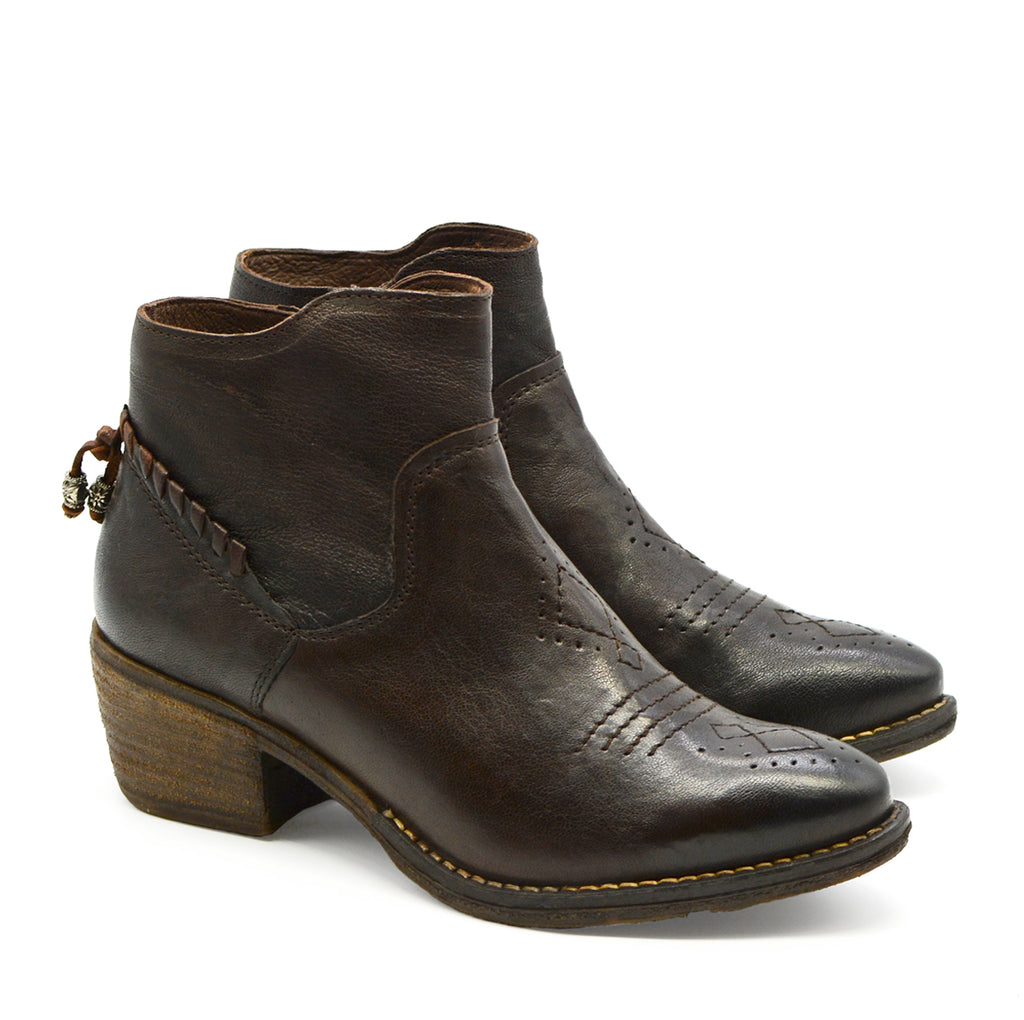 Vanessa Round Toe Ankle Boot in Dark Brown