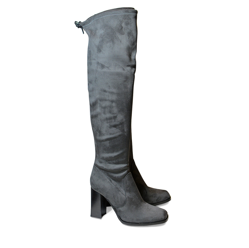 Valeria Over Knee Long Boots Grey Suede