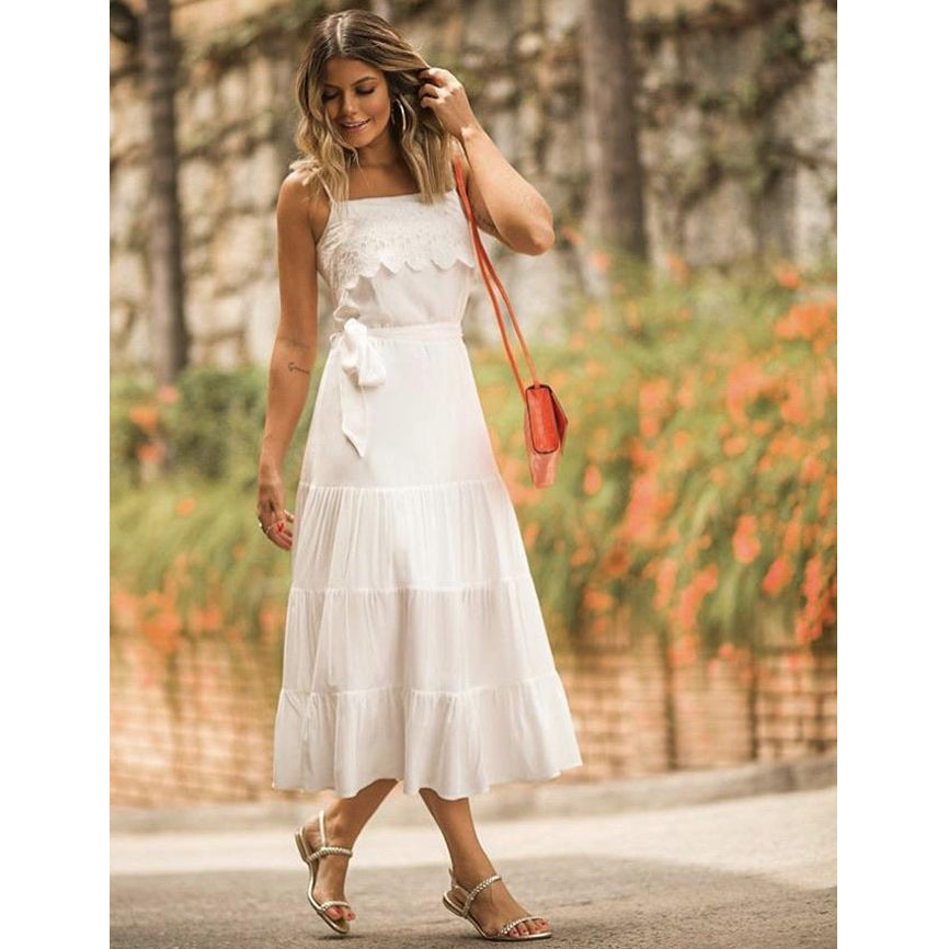 Audry Shirred Midi Dress in White