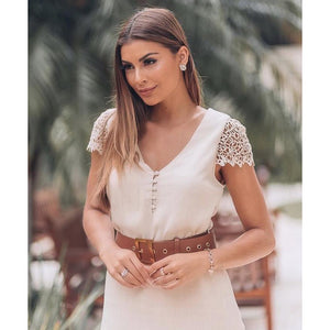 Aria Lace Shoulder Top With Short Sleeve in White