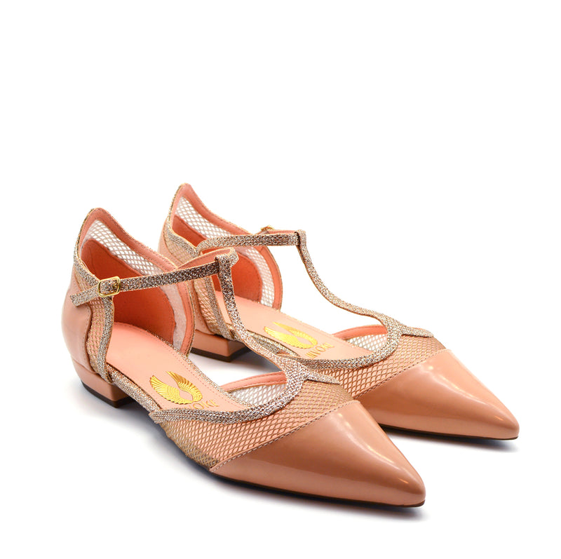 Vicky Pointed Ballet Flat Shoes in Blush Patent & Silver Details