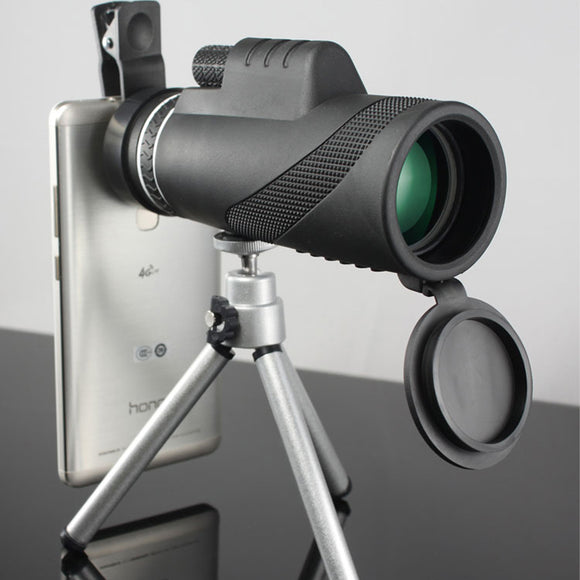 40x60 HD Optical Monocular Telescope with Phone Clip and Tripod