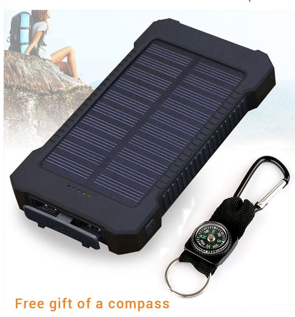 Solar Power Bank Dual USB Travel Power Bank 20000mAh