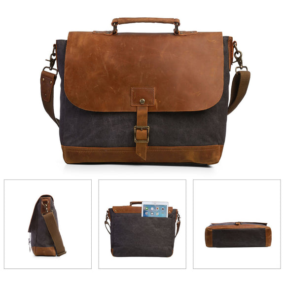 ECOSUSI Canvas Laptop Bag Briefcase Business Handbag Messenger Shoulder Bag with Padded Compartment for 15.6