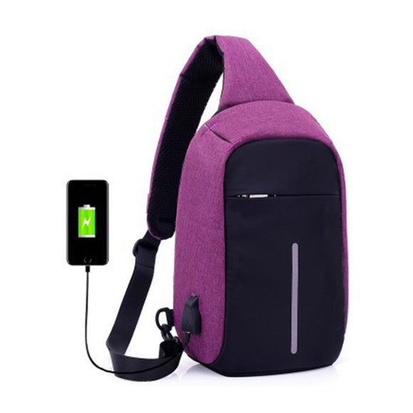 External USB Charging Incline Shoulder Bag