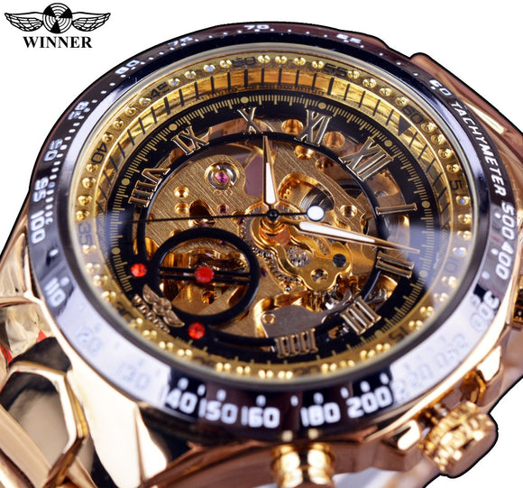 Winner New Number Sport Design Bezel Golden Skeleton Watch