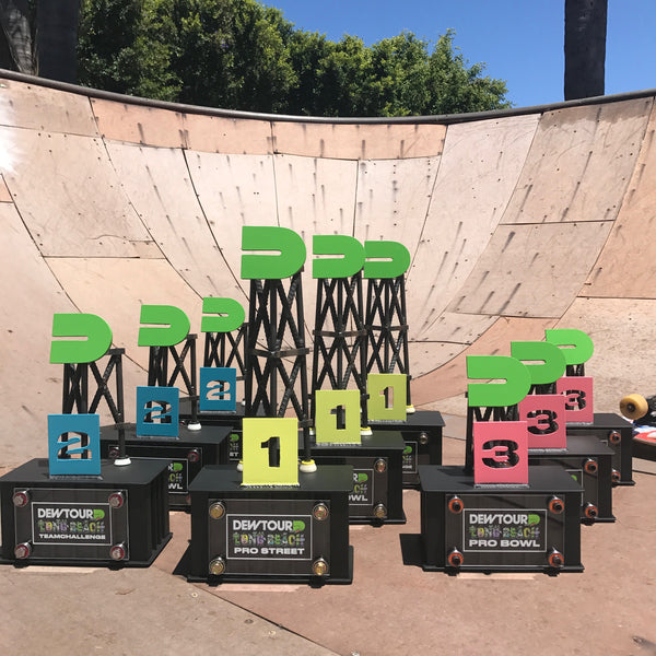 blunt steel trophy trophies dew tour award awards long beach skateboard skateboarding blunt steel ramp