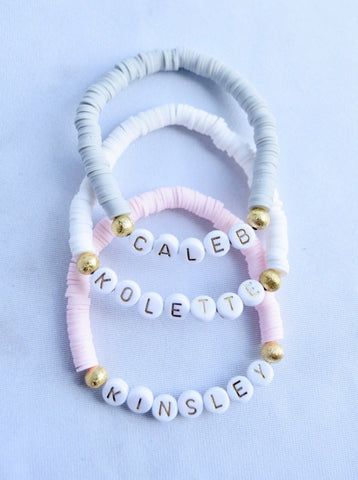 Customizable Heishi Disc Word Bracelet