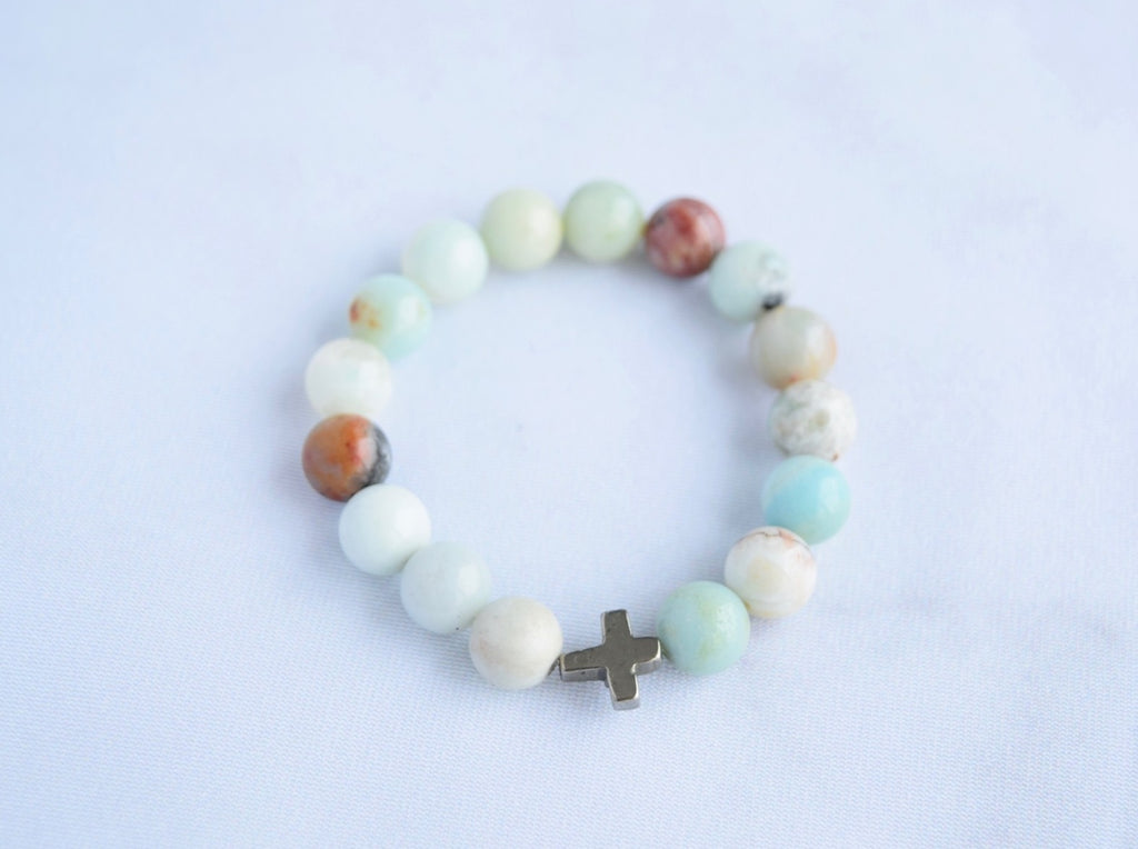 Amazonite Cross Bracelet