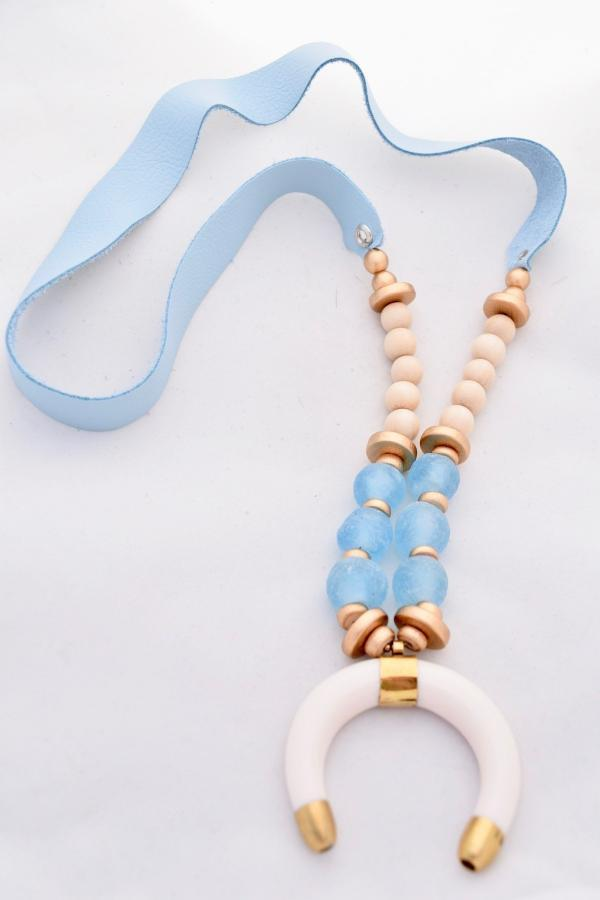 Melissa Light Blue Leather and Ivory Crescent Horn Necklace