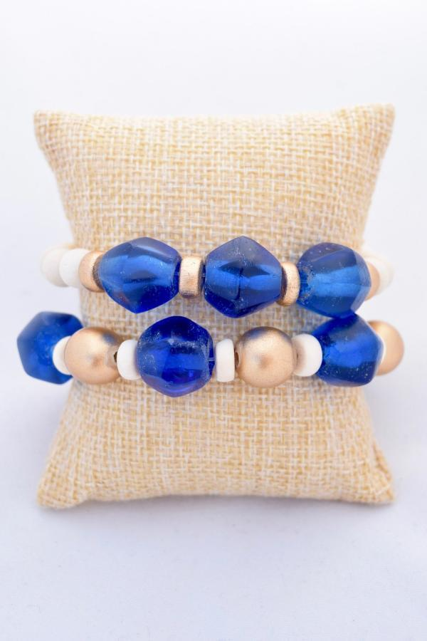 Blue and Gold Stacking Bracelets