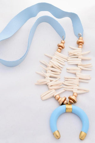 Light Blue Leather and Coconut Spike Necklace