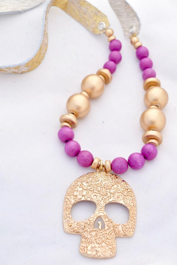 Purple and Gold Faux Cowhide Necklace with Skull Pendant