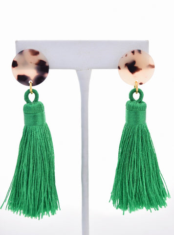 Becca Green Silk Tassel Tortoise Resin Earring