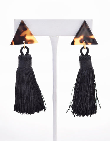 Becca Black Silk Tassel Tortoise Resin Earring