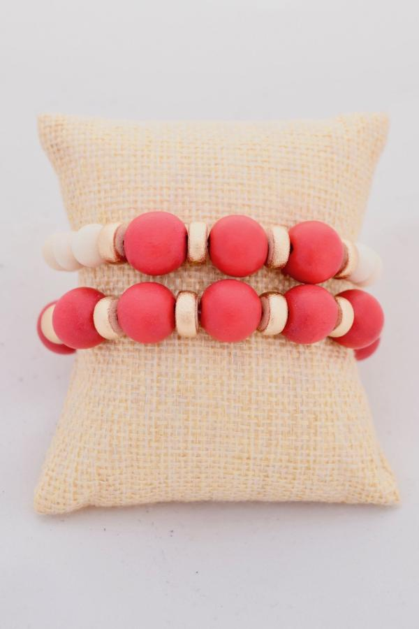 Red and Gold Stacking Bracelets
