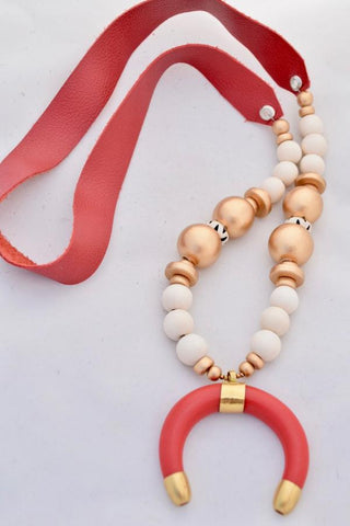 Red and Gold Leather Necklace with Ivory Horn - VDAY