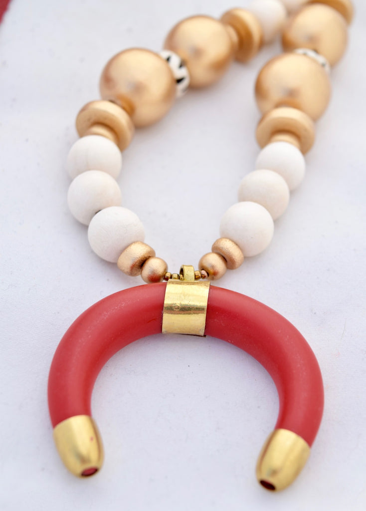 Red and Gold Leather Necklace with Ivory Horn